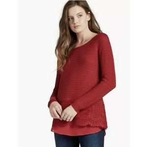 Lucky Brand Red Knit Sweater With Lace Hem Size XS